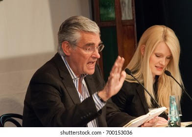Sky du Mont and wife Mirja du Mont at a reading  at the Frankfurt Bookfair 2009 in Frankfurt am Main, Germany