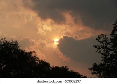 Sky, evening, yellow, darkening