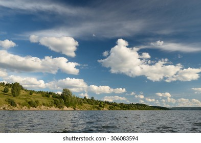 sky  forest river Cirrus clouds