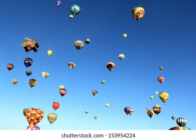 A sky full of colorful hot air balloons