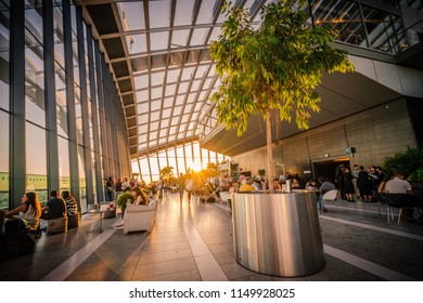 The Sky Garden at 20 Fenchurch Street is a unique public space designed by Rafael Vinoly Architects. It features a stylish restaurant; brasserie and cocktail bar - London,England, 5th August 2018