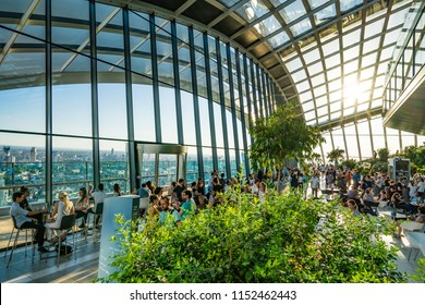 The Sky Garden at 20 Fenchurch Street known as Walkie Talkie - London,England, 5th August 2018