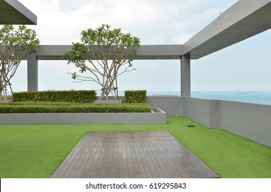 sky garden on rooftop of condominium with blue sky