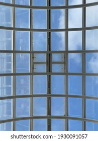 sky in glass windows indoor bottom view