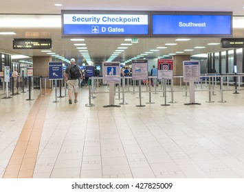 Sky Harbor Airport, Terminal 4 Check point Phoenix,Az May 28th,2016. TSA announced that they have  moved 30 security officers out of Phoenix Sky Harbor to other airports.