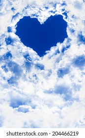 sky with heart shape clouds