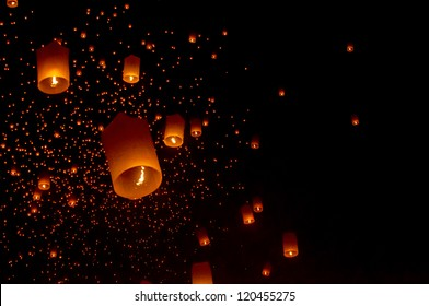 Sky lanterns festival,Thailand, Loy Krathong and Yi Peng Festival