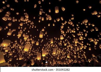 Sky lanterns, Loy Krathong and Yi Peng Festival. Chiang Mai, Thailand.