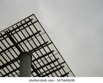 Sky light roof with wooden structure and concrete column. Transparent roof on wooden beam. Polycarbonate sheet on wooden purlin and beam. Perfect wooden roof structure form worm eye view