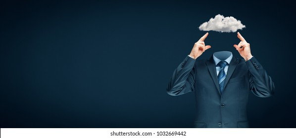 Sky is the limit - motivation concept. Head is in the clouds concept. Businessman has business vision and ideas and dream about success.