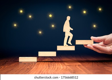 Sky is the limit motivational and personal development concept. Coach motivate to personal development, success and career growth concept.