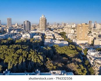 sky line of central midtown Tel Aviv towers, aerial footage, israel