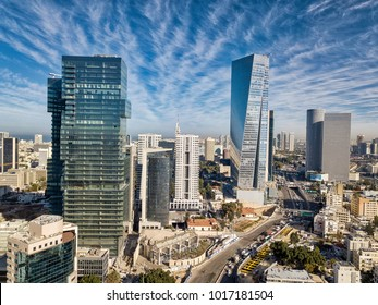 sky line of Tel Aviv towers and aerial  israel