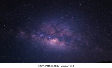 Sky at night with many star, Beautiful clear sky at night, Bright starlight with purple dark sky
