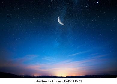 Sky night stars and moon, islamic night