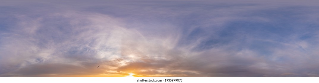 Sky panorama with Altostratus clouds in Seamless spherical equirectangular format. Full zenith for use in 3D graphics, game and editing aerial drone 360 degree panoramas for sky replacement.