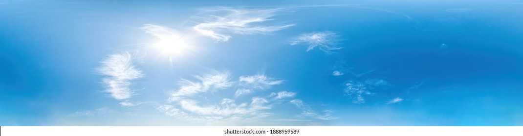 sky panorama with Cirrus clouds without ground, for easy use in game development, 3D graphics and composites in aerial drone 360 degree spherical panoramas as a sky replacement.