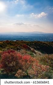 Sky with ray of light from Mount Wakakusayama, Nara, Japan
