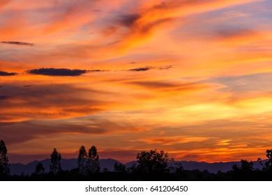 Sky red , light the evening sky.