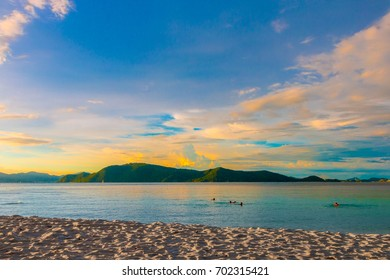 sky and sand of coral beach at puket , Thailand