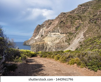 sky, sea and coast on a late summer day on the island of Pantelleria, Italy