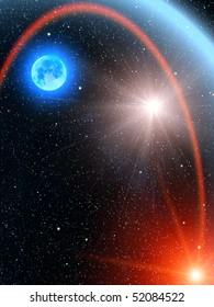 Sky  stars  sun  comet