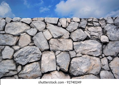 Sky and Stone wall background