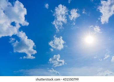 Sky with sun. Blue sky. Sky with clouds. Sky and sunrise. Sky and Sunlight.