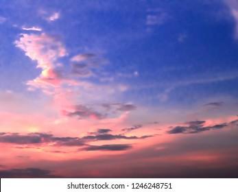 Sky sun shines golden horizon.