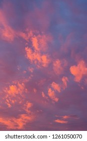 Sky at sunset with brightly coloured clouds