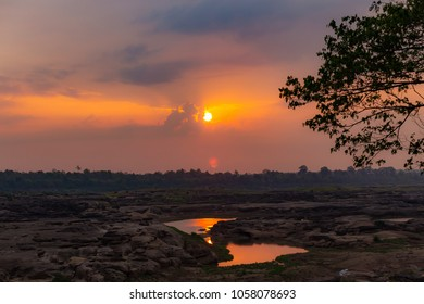 Sky with sunset , Sampanbok Ubon Ratchathani Grand Canyon in Thailand,meakhong river