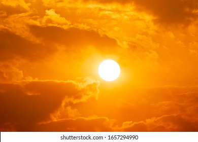 Sky sunset of sunshine and cloud, bright twilight background. Everything lies above surface atmosphere outer space is sky. Cloud is aerosol comprising visible mass  liquid, for creative design graphic