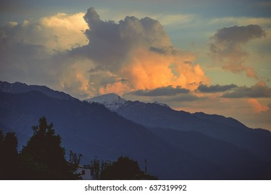 Sky at sunset time in Manali on the background himalayan mountain