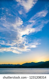 The sky of the sunset watching from a passenger boat anchored in Kumano Nada, Kumano City, Mie Prefecture, Japan.