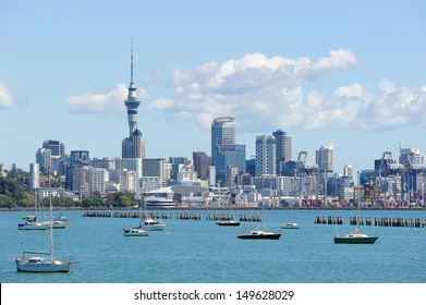 Sky tower in a sunny day, North Island, New Zealand