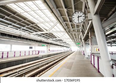 Sky train station in Bangkok Thailand