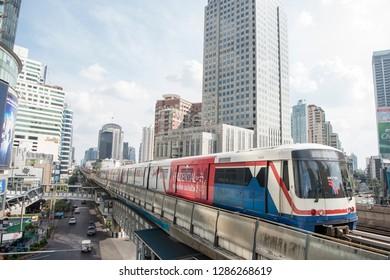 a sky train station the city of Bangkok in Thailand in Southeastasia.  Thailand, Bangkok, November, 2018