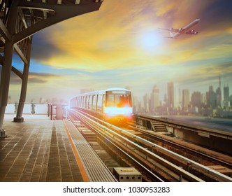 sky trains and air plane in new city transportation project