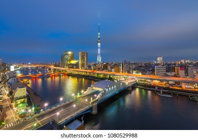 SKY TREE, JAPAN - APRIL 6: Sky Tree on April 6, 2018 in Tokyo, Japan. Sky Tree is the tallest building in Japan and one of the main tourist attraction. With over 1 million people visiting each year