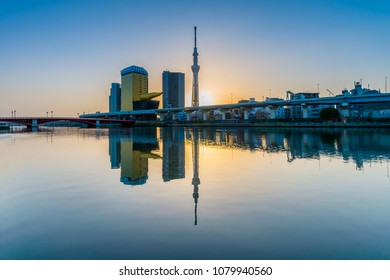 SKY TREE, JAPAN - APRIL 8: Sky Tree on April 8, 2018 in Tokyo, Japan. Sky Tree is the tallest building in Japan and one of the main tourist attraction. With over 1 million people visiting each year