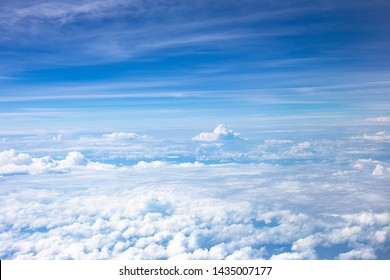 Sky view from airplane blue sky clouds view