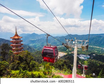 sky view and chin swee caves temple on skyway cable car, genting, malaysia
