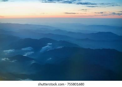 sky view form airplane window