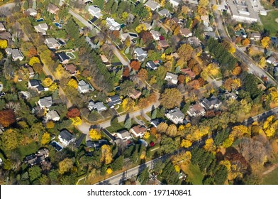 A sky view of a neighborhood in the fall.