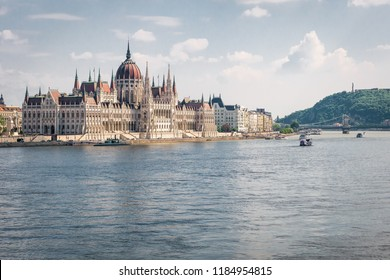 Sky view on Budapest parliament and Danou river