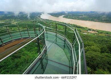 Sky walk , pha tak sue Nongkhai City, Wat Pha Tak Sue, Thailand