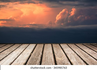 sky with wood pier