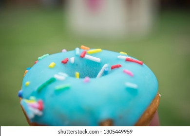 skyblue little donut with colorfull candy chips