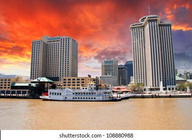 Skycrapers of New Orleans with Mississippi River