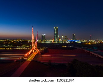 Skydance Pedestrian Bridge in Oklahoma City, OK. This bridge was lit orange for recognition of National Gun Violence Awareness Day.